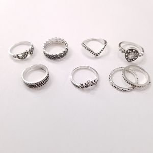 New Silver Boho Midi Rings